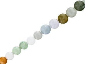 Multi-Color Jadeite & Quartz Mix appx 6-12mm Graduated Round Bead Strand appx 15-16