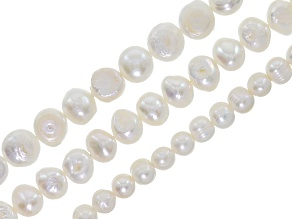Cultured Freshwater pearl set of 3 potato shape bead strands appx. 15-16