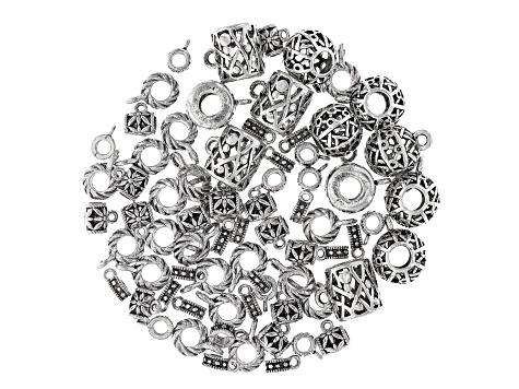 Bail Component Set Large Hole in 5 Styles in Antique Silver Tone 72 pieces total