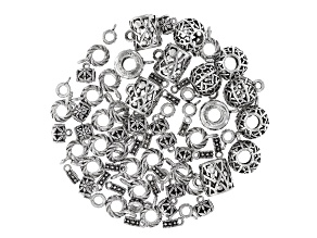Bail Component Set Large Hole in 5 Styles in Antique Silver Tone appx 72 pieces total