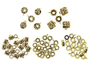 Bail Component Set Large Hole in 5 Styles in Antiqued Gold Tone appx 72 pieces total