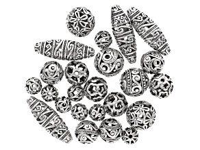 Hollow Texture Ball Bead Parcel in 7 Styles in Silver Tone 24 pieces