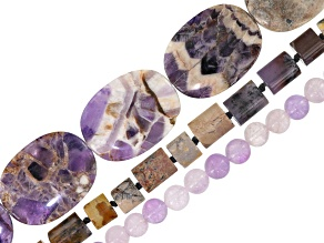 Mixed bead strand set/3 incl assorted shapes, sizes & stones in amethyst mix