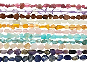 Nugget Gemstone Bead Strands Set of 11 appx. 4x8mm & appx. 15-16