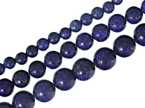 Lapis Lazuli Round Bead Strand Set of 3 Appx 16