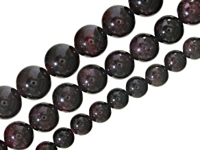 Garnet Round Bead Strand Set of 3 Appx. 16
