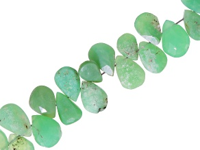 Chrysoprase Faceted appx 8x5mm Pear Shaped Bead Strand Appx 16