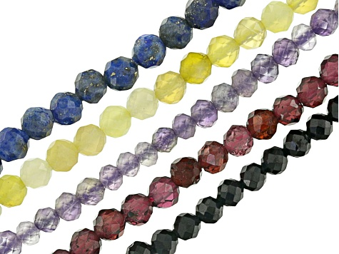 Assorted Gemstone Faceted Round appx 2mmShape Set of 5 Bead Strands Appx 15-16