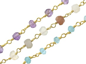 Rosary Chain Set of 3 with assorted gemstones appx 48