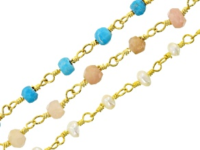 Rosary Chain Set of 3 with assorted gemstones appx 46-48