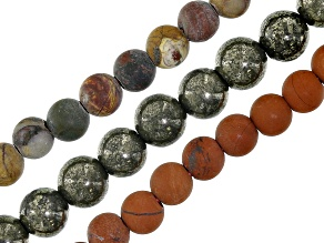 Pyrite, Matte Red Creek Jasper & Matte Red Jasper Bead Strand Set of 3 appx. 8