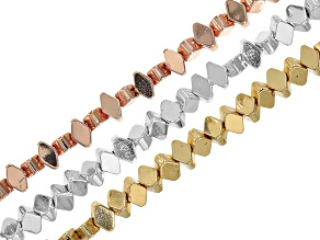 Hematine Flat Diamond Shape Bead Strand Set of 3 in Assorted Colors appx 15-16
