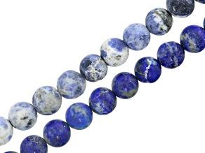 Matte White Denim Sodalite & Matte Lapis Lazuli appx 8mm Round Bead Strand Set of 2 appx 15-16