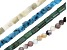 Quartzite & Mixed Ornamental Stone Bead Strand Set of 4 in appx 8mm & 8x12mm and appx 15-16