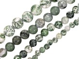 Green Calcite & Green Mixed Ornamental Stone Appx 6,8,10,12mm Bead Strand Set of 4 Appx 15-16