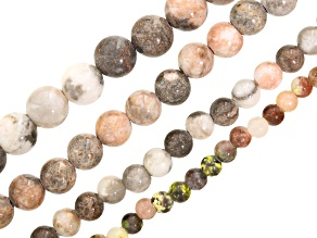 Pink Marble & Multi-Color Calcite Round Bead Strand Set 4 in appx 6, 8, 10 & 12mm appx 15-16""