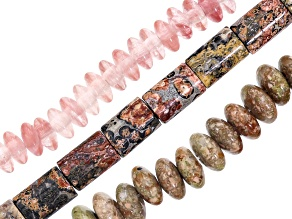 Assorted Gemstones Rondelle & Tube Shape Bead Strand Set of 3 in Assorted Colors Appx 15-16