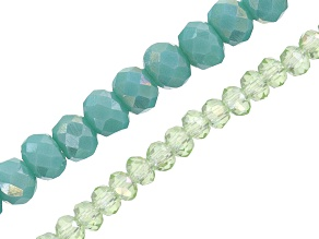 """CHINESE CRYSTAL GLASS APPX 4MM RNDL BEAD STRAND IN CAPRI BLUE & GREEN AB APPX 15"""" EACH"""