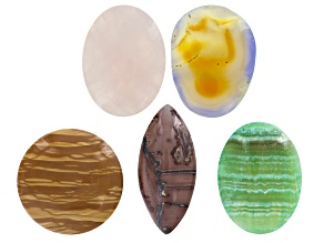 Multi-Stone Undrilled Cabochons Set of 5