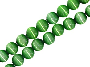 Green Cat's Eye Glass appx 8mm Round Bead Strand Set of 2 appx 15-16