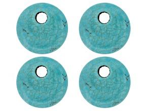 4 Blue Magnesite Appx 45mm Coin Pendant