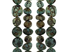 Turquoise Sim Fancy Oval & Fancy Nugget 4 Strands 15-16