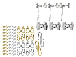 Jewelry Clasp Kit In Gold And Silver Tone 44pcs