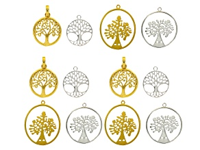 Tree Of Life Pendant Set Of 12 in Silver Tone And Gold Tone