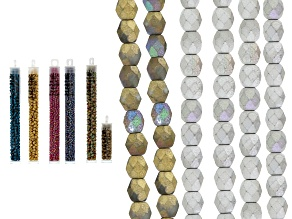 Glass Seed Bead Kit in Sizes 6/0 And 8/0 W/ 4mm Faceted Round Glass Bead Strands in Assorted Colors