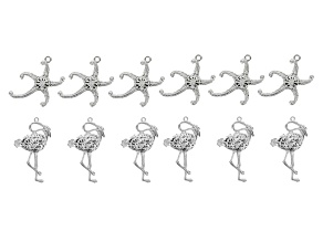 Starfish And Flamingo 12 Piece Pendant Set in Silver Tone incl 6 Flamingos & 6 Starfish