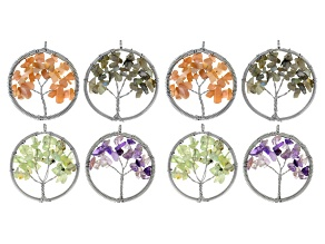 Tree Of Life Pendant Set Of 8 includes Assorted Free-Form Stones