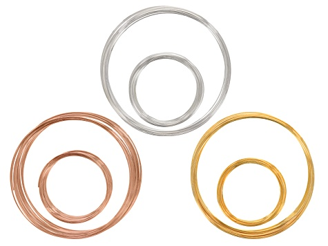 Extra Heavy Duty Memory Wire Kit In Silver Tone, Rose Tone, & Gold Tone. 100g Total In Each Tone