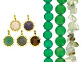 Green Agate and Prehnite Bead Strands set of 3 & Sunflower Focal Set of 5