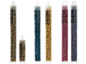 6/0 & 8/0 Glass Seed Beads in Assorted Colors Set of 6