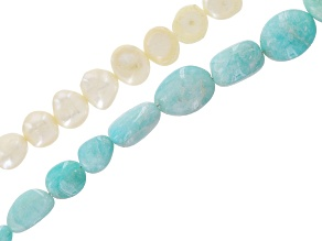 White Cultured Freshwater Pearl & Amazonite Bead Strand Set of 2