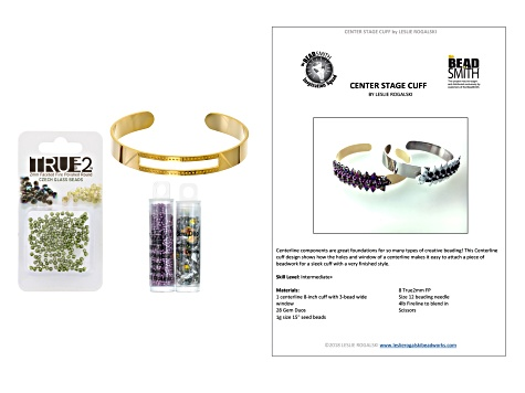 Centerstage Bracelet Project And Supply Kit in Purple, Green & Gold Tone And Tutorial