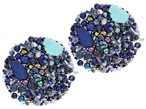 2 lb Multi-Stone Bead Bag in Blue Tones Includes Various Shapes & Sizes Natural & Man-Made Simulants