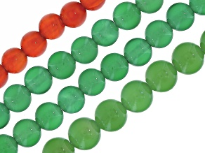 Agate Round appx 4, 6 & 10mm Bead Strand Set of 4 in Red & Green appx 15-16