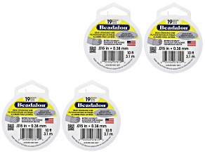 19 Strand Satin Silver Wire 3.1M (10ft) Spool Set of 4 0.38mm