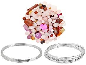 Silver Tone Memory Wire Necklace & Large Bracelet Set & 1lb Bag Multi-Stone Beads