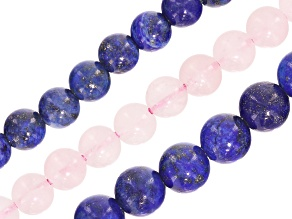 Assorted Gemstone Large Hole Bead Strand Set of 3 appx 8