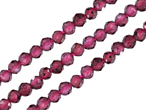 Red Garnet Faceted Round appx 2-2.5mm Bead Strand Set of 3 appx 15-16