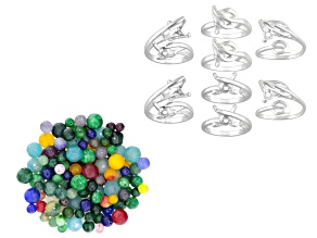1/2 Lb Bag Of Quartzite Beads In Assorted Colors & Adjustable Silver Tone Setting Rings Kit 8 Total