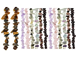 Multi-Gemstone Chip appx 5-10mm Strand Set of 14 appx 32-34