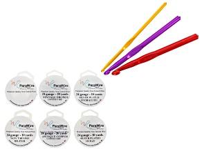 Crochet Hook Kit 1 Each 5mm, 8mm & 10mm & Parawire 24 Gauge set of 6 in 10 & 20 yd Spools