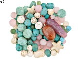 2lb Assorted Bag Of Beads In Various Shapes, Colors & Sizes