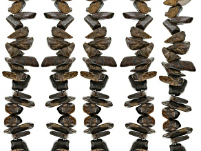 Bronzite Chip Shape Bead Strand Set of 5 Appx 32-34