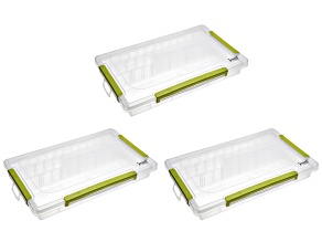 Jewel School(TM) Adjustable Organizer set of 3 with 3 Row 23 Compartment and Green Latches