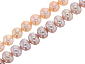 Cultured Freshwater Pearl Bead Strand Set of 2 in Pink and Peach Appx 15-16