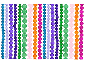 Quartzite Round Bead Strand Set of 18 In appx 6mm, 8mm & 10mm In Assorted Colors